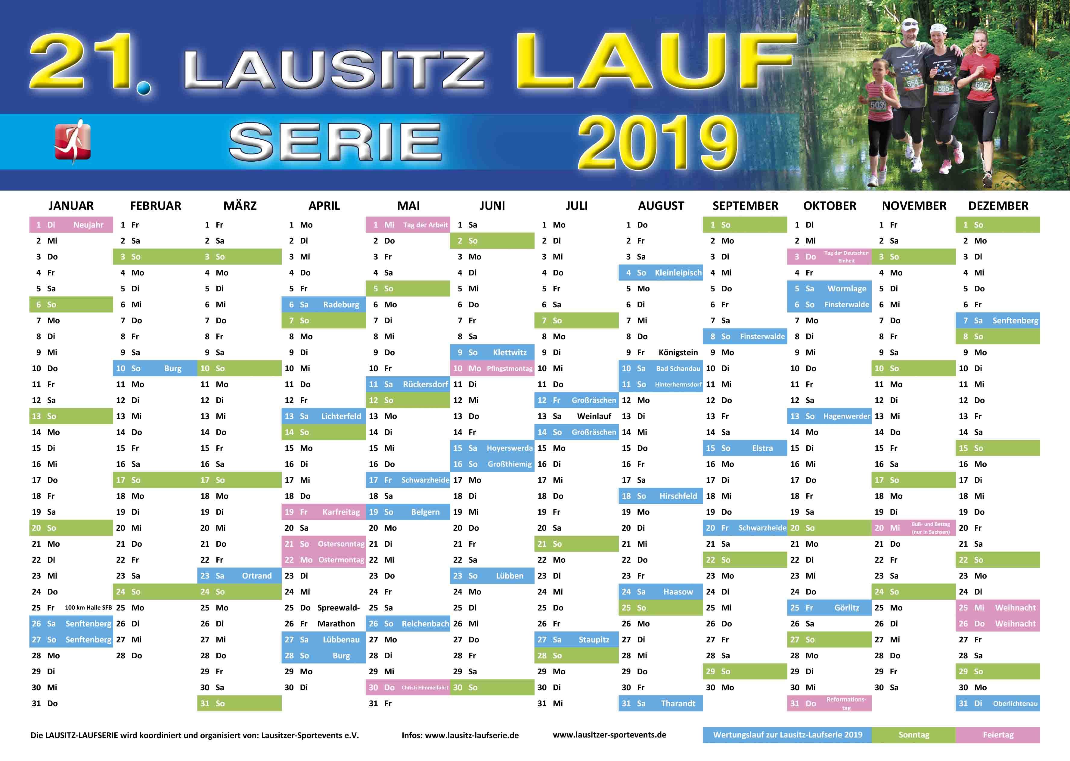 Der Jahreskalender zur 21. LAUSITZ-LAUFSERIE 2019