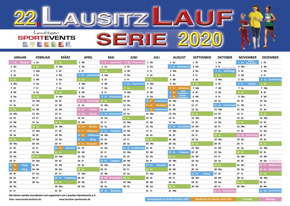 Jahreskalender zur 22. LAUSITZ-LAUFSERIE und 1. Wanderserie 2020