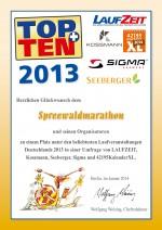 TOPTEN-Urkunde-Spreewald-Marathon-2013