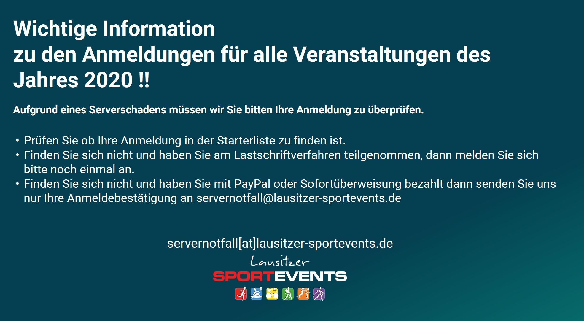 Serverausfall – Wichtige Information zu den Anmeldungen des Jahres 2020!!!